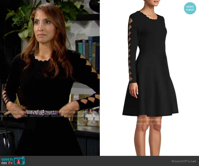 Milly Scallop Knit Fit-&-Flare Dress worn by Lily Winters (Christel Khalil) on The Young & the Restless