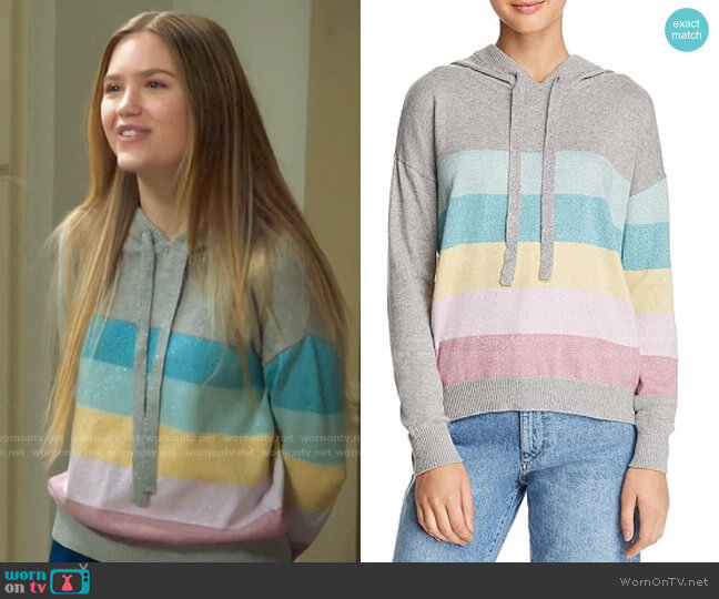 Minnie Rose Metallic Striped Hooded Sweater worn by Orly Bremer (Kyla Kenedy) on Mr Mayor