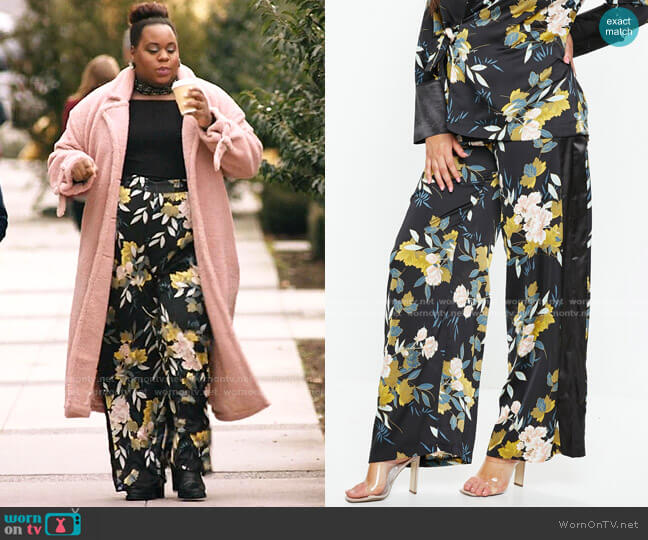 Plus Size Floral Print Wide Leg Side Stripe Pants by Missguided worn by Mo (Alex Newell) on Zoeys Extraordinary Playlist