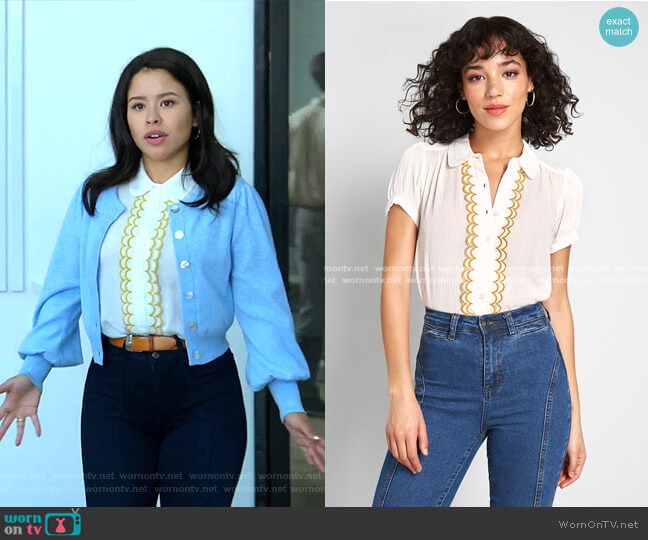All About Scallops Short Sleeve Blouse by Modcloth worn by Mariana Foster (Cierra Ramirez) on Good Trouble