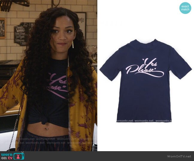 Yes Please Tee by Monogram worn by Olivia Baker (Samantha Logan) on All American
