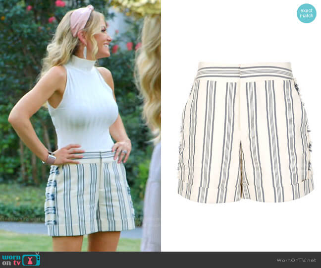 Fringed Striped Print Shorts by Monse worn by Stephanie Hollman  on The Real Housewives of Dallas