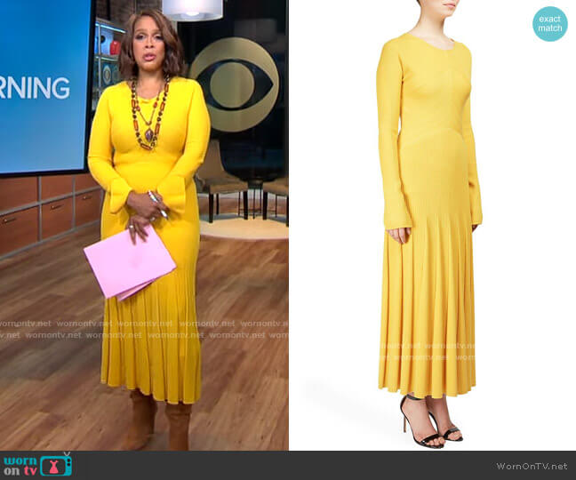 Moschino  Long Sleeve Ribbed Knit Midi Dress worn by Gayle King  on CBS This Morning
