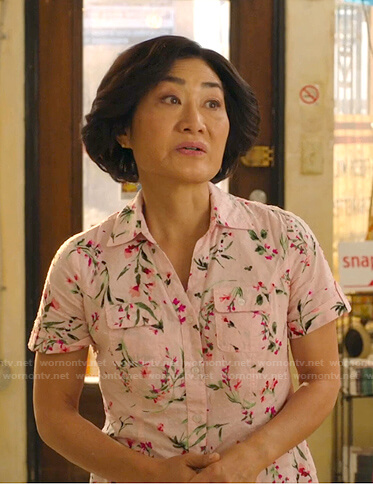 Mrs. Kim's pink floral print shirt on Kims Convenience