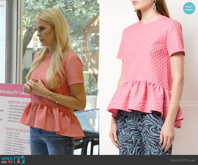 Peplum-Hem Cloqué Top by MSGM worn by Kameron Westcott  on The Real Housewives of Dallas