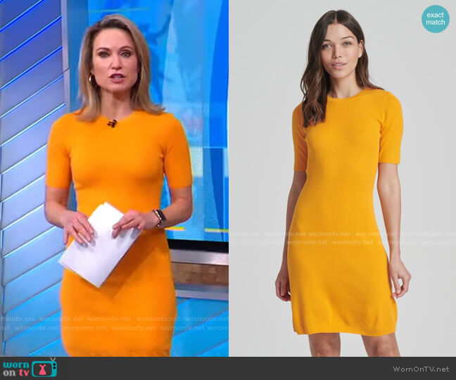 Ribbed Mini Dress by Naadam worn by Amy Robach  on Good Morning America