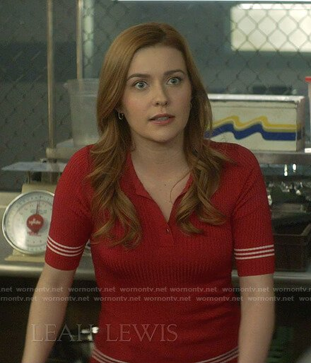 Nancy's red striped polo on Nancy Drew