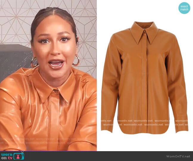 Noelle faux-leather shirt by Nanushka worn by Adrienne Houghton  on The Real