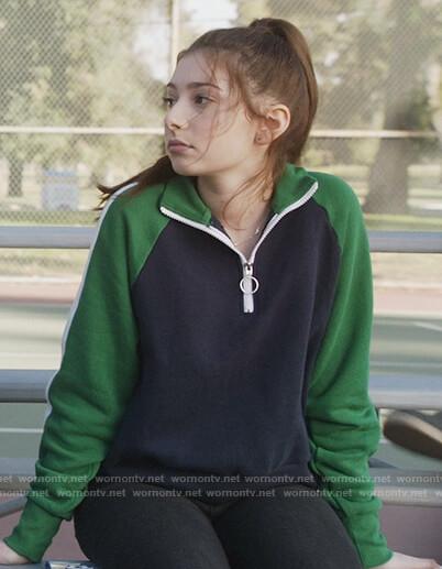 Natalie's navy and green colorblock sweatshirt on The Unicorn