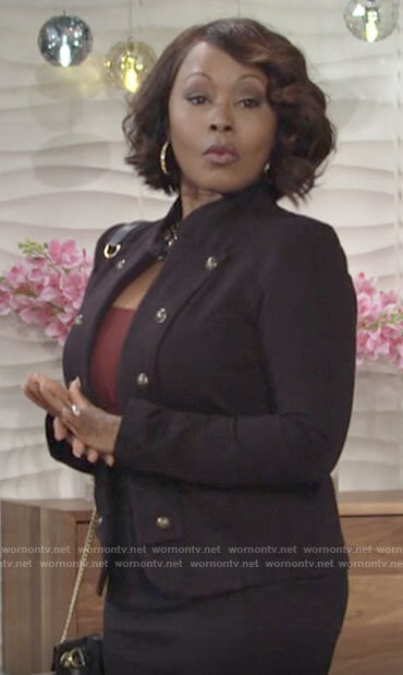 Naya's military style jacket on The Young and the Restless