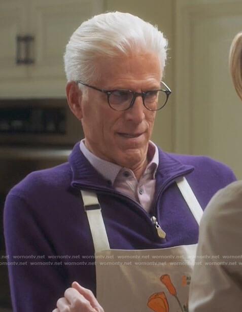 Neil's purple zip neck sweater on Mr Mayor
