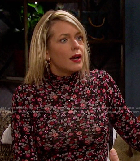 Nicole's floral mock neck dress on Days of our Lives