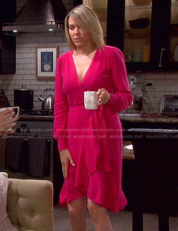 Nicole's pink ruffle wrap dress on Days of our Lives