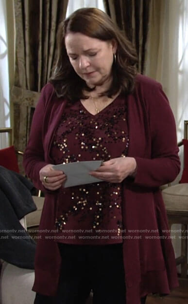 Nina's burgundy sequin top and cardigan on The Young and the Restless