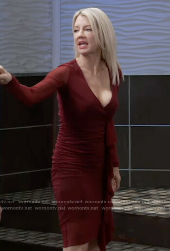 Nina's burgundy ruffle front dress on General Hospital