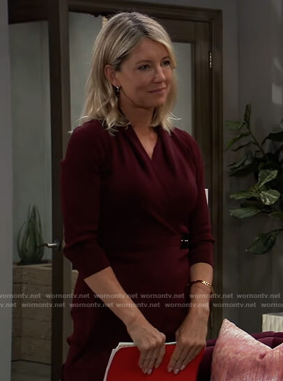 Nina's burgundy wrap dress on General Hospital