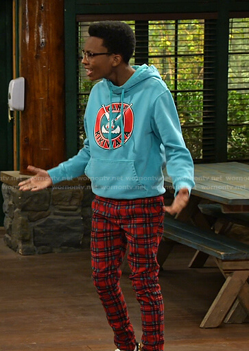 Noah's red plaid pants on Bunkd