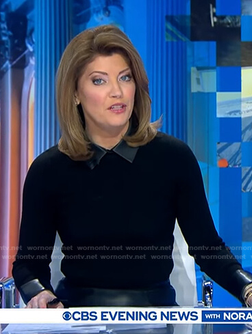 Norah's black sweater with leather collar on CBS Evening News
