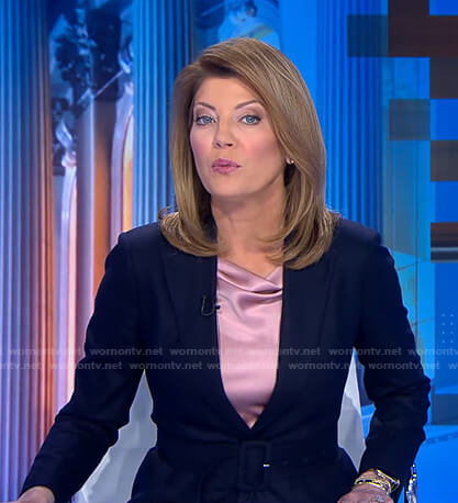 Norah's navy belted blazer on CBS Evening News