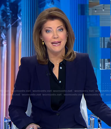 Norah's navy blazer on CBS Evening News