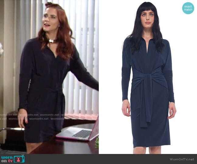Norma Kamali Ty Front NK Shirt Dress in Pewter worn by Sally Spectra (Courtney Hope) on The Young & the Restless