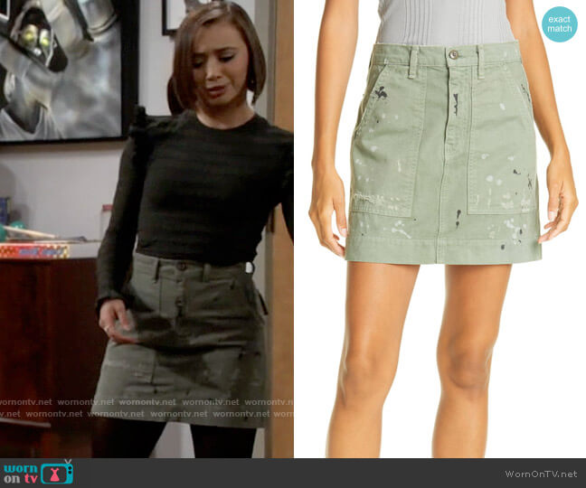 NSF Goldie Painted Miniskirt worn by Celia (Emma Caymares) on Call Your Mother