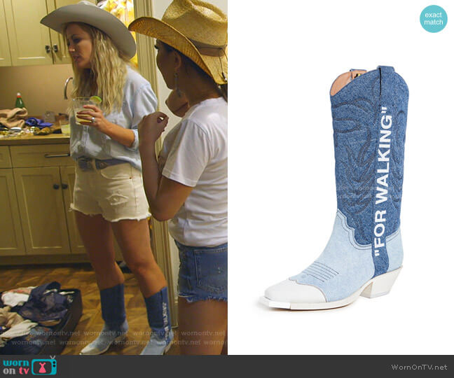 Denim Cowboy Boots by Off-White worn by Stephanie Hollman  on The Real Housewives of Dallas