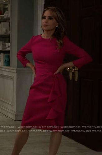 Olivia's pink side ruffle dress on General Hospital