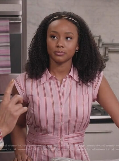 Olivia's pink stripe shirtdress on Black-ish