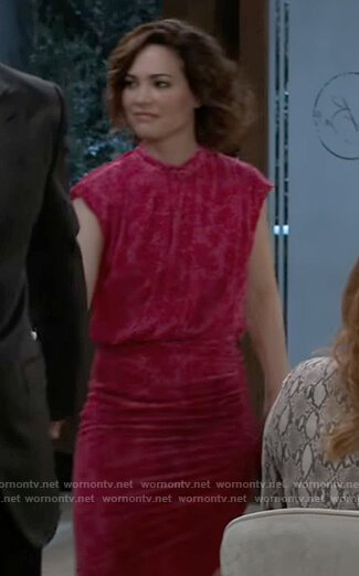Elizabeth's pink floral velvet dress on General Hospital