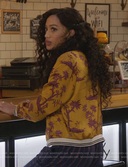 Olivia's yellow palm print bomber jacket on All American