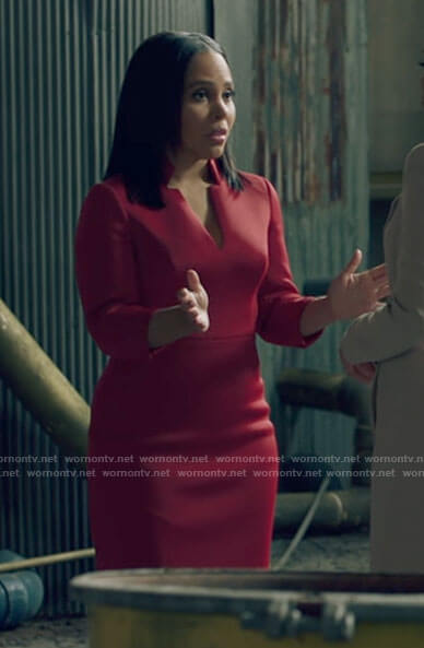 Parker's red v-neck dress on Queen Sugar