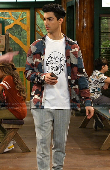 Parker's skull print tee and could print shirt on Bunkd