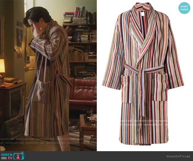 Striped Belted Bathrobe by Paul Smith worn by Jughead Jones (Cole Sprouse) on Riverdale