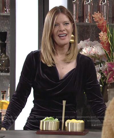 Phyllis's purple cowl neck velvet dress on The Young and the Restless
