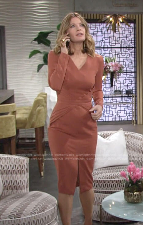 Phyllis's orange v-neck long sleeved dress on The Young and the Restless