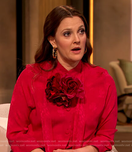Drew's pink tie neck blouse on The Drew Barrymore Show