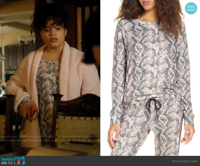 PJ Salvage Snake Skin Print Long Sleeve Top worn by Maggie Vera (Sarah Jeffery) on Charmed