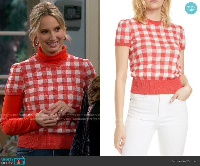Polo Ralph Lauren Check Short Sleeve Sweater worn by Mandy Baxter (Molly McCook) on Last Man Standing