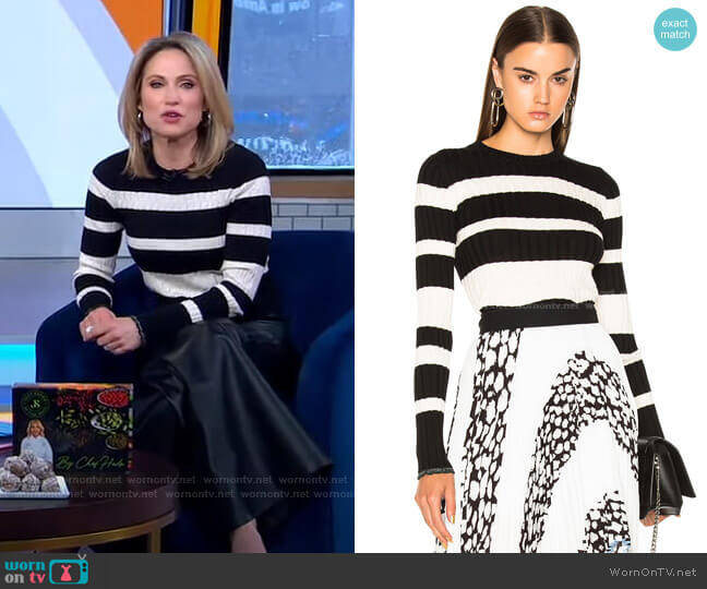 Ultrafine Striped Crewneck Sweater by Proenza Schouler worn by Amy Robach  on Good Morning America