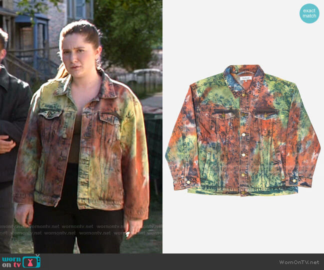 Tie Dye Denim Trucker Jacket by Profound worn by Debbie Gallagher (Emma Kenney) on Shameless