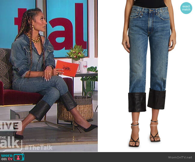 Axl Slim Leather Cuff Jeans by R13 worn by Elaine Welteroth  on The Talk