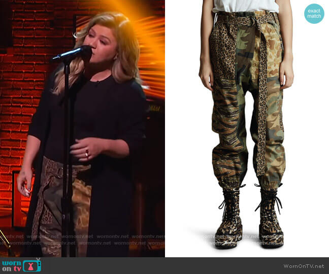 Mixed Print Paperbag Pants by R13 worn by Kelly Clarkson  on The Kelly Clarkson Show