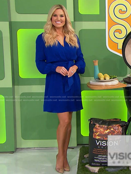 Rachel's blue long sleeve wrap dress on The Price is Right