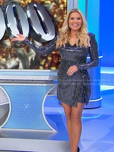 Rachel's sequin striped long sleeve dress on The Price is Right