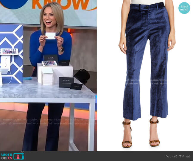Libby Velvet Cropped Flare-Leg Pants by Rag & Bone worn by Amy Robach  on Good Morning America