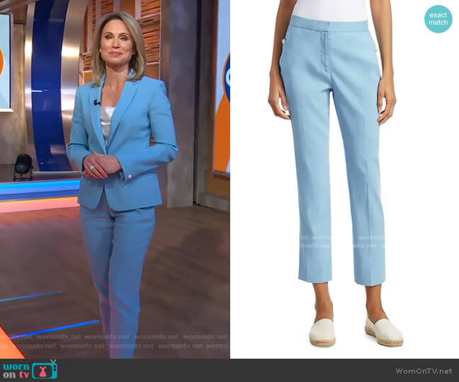 Poppy Linen-Blend Crop Trousers by Rag & Bone worn by Amy Robach  on Good Morning America