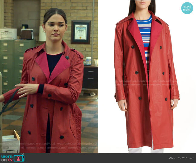 Rufus Coated Cotton Trench Coat by rag & Bone worn by Callie Foster (Maia Mitchell) on Good Trouble
