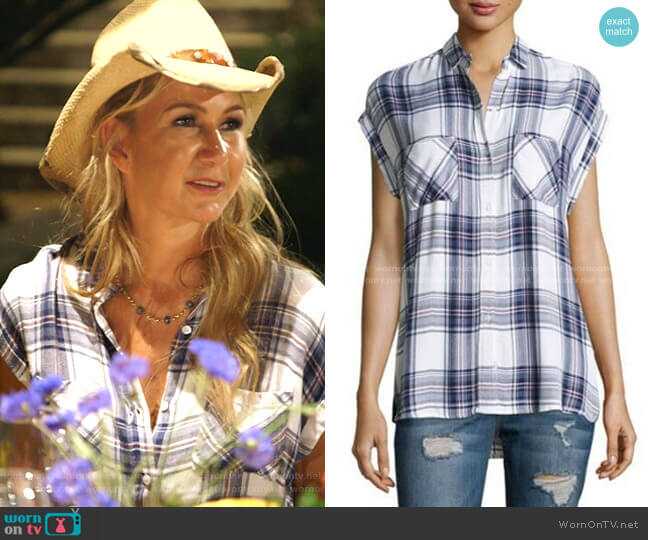 Plaid Short Sleeve Shirt by Rails worn by Kary Brittingham  on The Real Housewives of Dallas