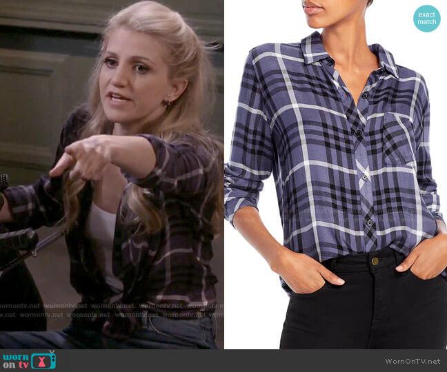 Rails Hunter Shirt in Twilight Ebony White worn by Gina Dabrowski (Annaleigh Ashford) on B Positive